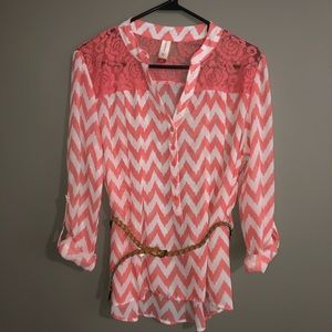 Striped 3/4 Sleeve Blouse With Belt